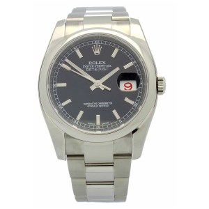 Rolex Datejust in stainless steel with oyster bracelet, black dial with silver tone hour markers