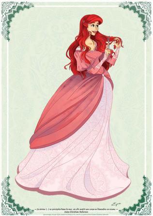 Ariel com roupa histórica pela ilustradora Eyvie