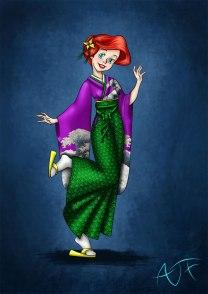 Ariel de quimono pela artista Karine atomicfrog83