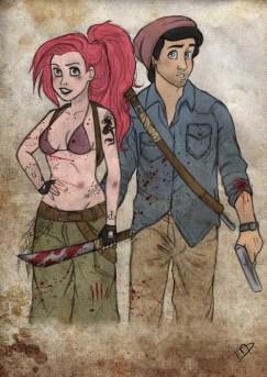 Ariel e Eric em versão Walking Dead, pelo artista francês Kasami-Sensei