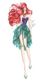 Ariel em versão croqui de moda pelo estilista mexicano Guillermo Meraz