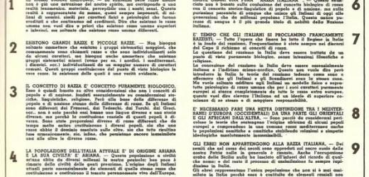 IL MANIFESTO DELLA RAZZA (luglio 1938)
