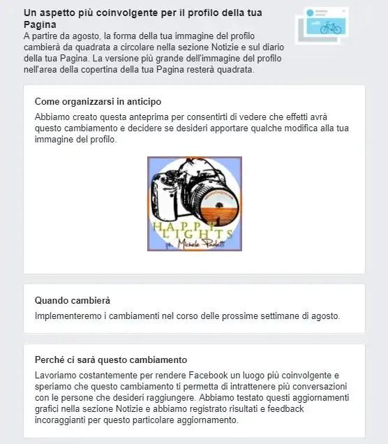 Aggiornamento Facebook: l'immagine di profilo circolare