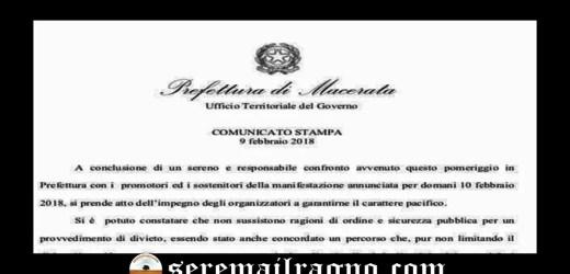 Confermata dalla Prefettura la manifestazione a Macerata per domani 10 Febbraio