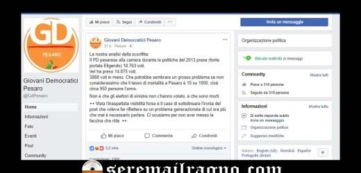"""I Giovani Democratici Pesaro ironizzano: """"Non è che gli elettori di sinistra non c'hanno votato, è che sono morti"""""""