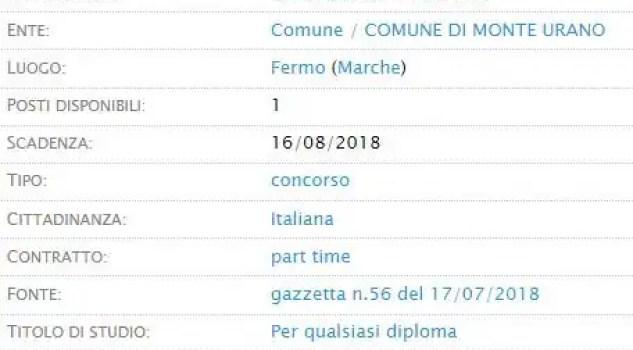 Istruttore amministrativo Comune Monte Urano
