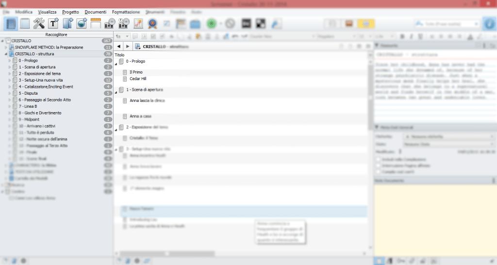 """Il mio desktop con Scrivener aperto in modalità """"struttura"""""""