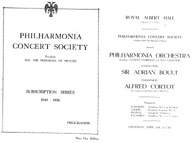 Copy of the programme sheets of some of the earliest concerts held at Royal Albert Hall on 13 April, 27 April – 11 May 1949   Source: Wikimedia Commons