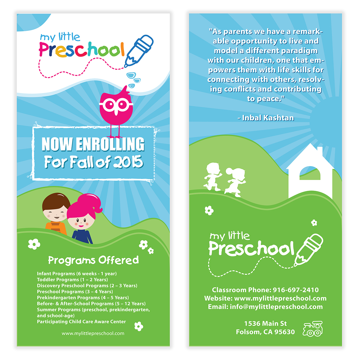 Preschool kids flyer template 06 for Daycare brochure template