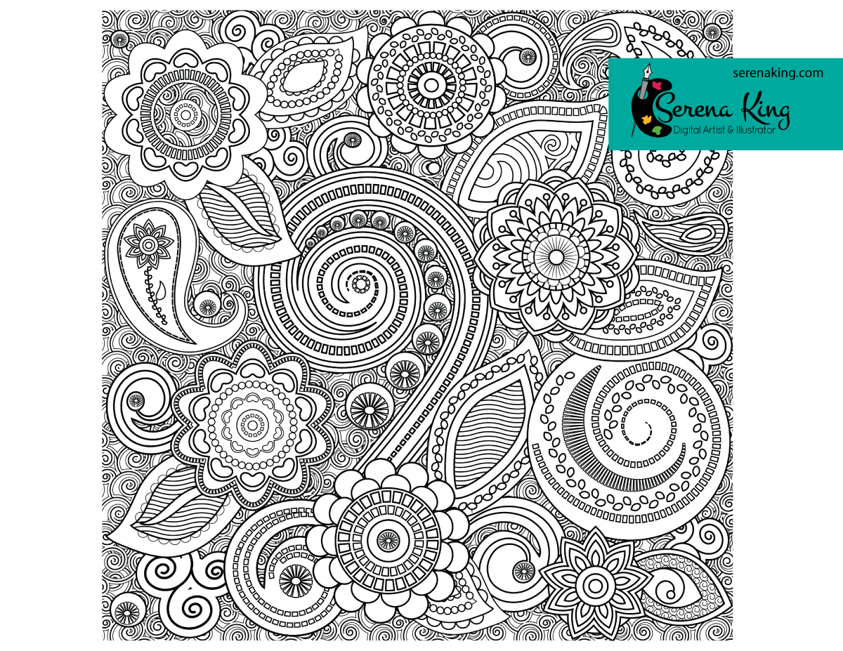 Henna Pattern Coloring Page