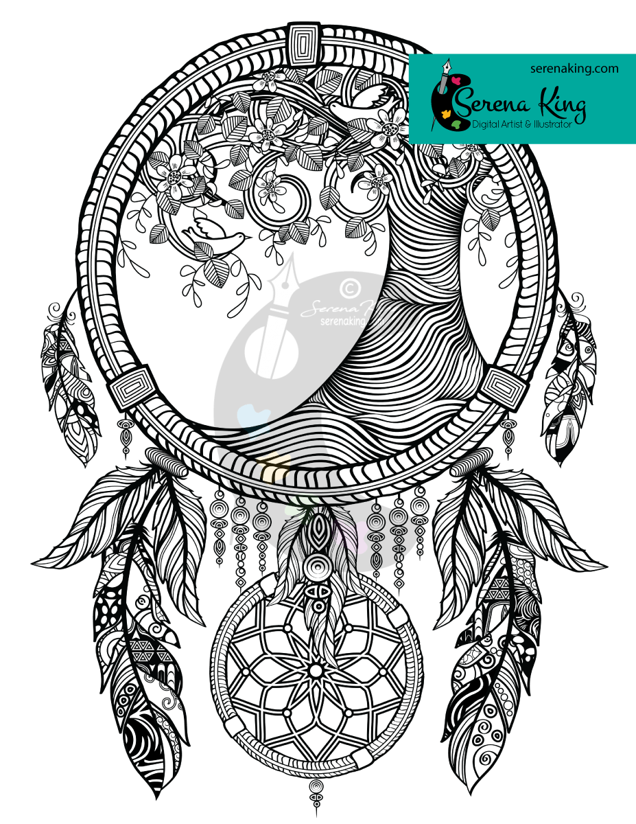 Tree Dreamcatcher Coloring Page