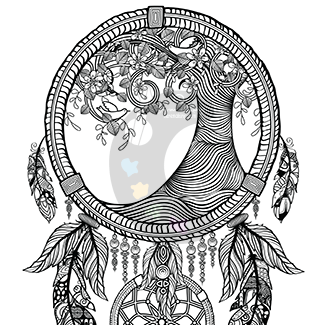 Dream Catcher Tree Coloring Page