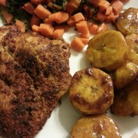 Moroccan Spiced Chicken Breasts with Caramelized Plantains