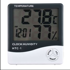Digital Thermometer Hygrometer Electronic LCD Temperature Humidity Meter Weather Station Indoor Clock – Model HTC-1
