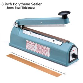 8 inch Polythene Sealer / Impulse Heat Sealer with 8mm Seal Thickness – Aluminum Body
