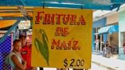 Stand de fritura de maiz, prix en CUP, Bayamo, août 2017.