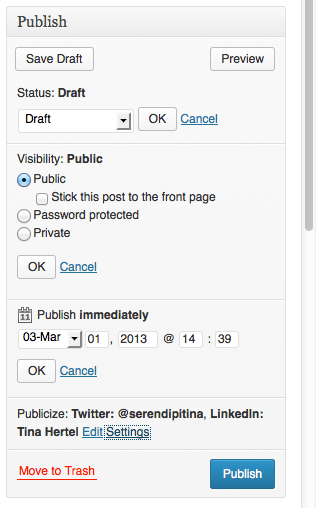 WordPress Publish Setting
