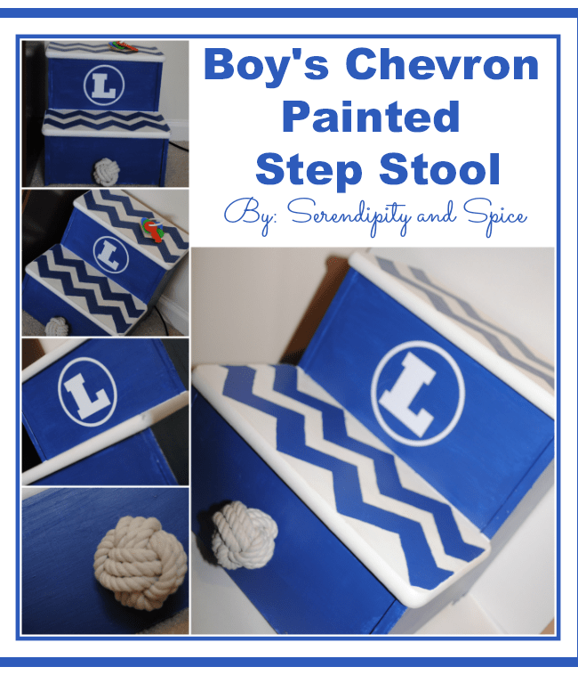 Boy's Chevron Painted Step Stool