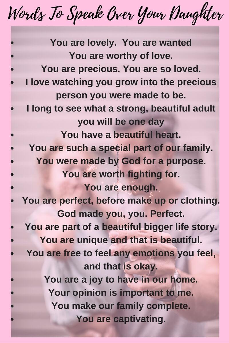 words to speak over your daughter