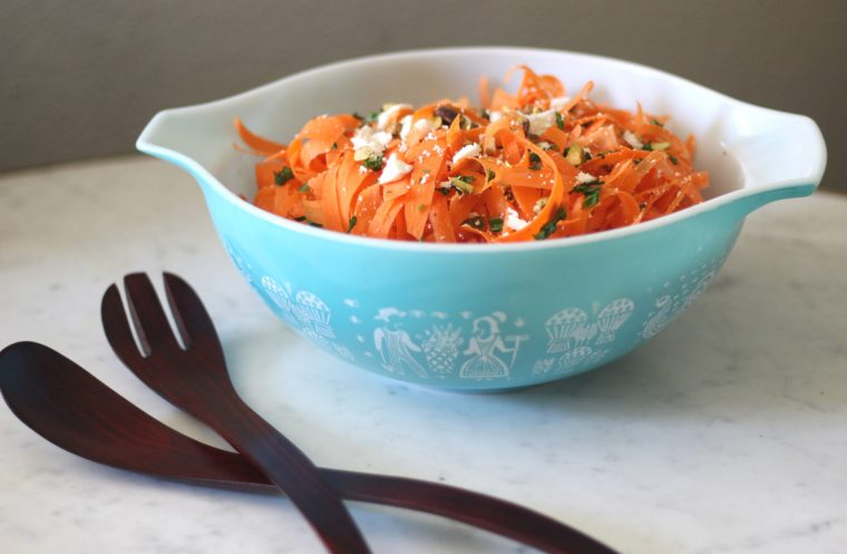 Carrot Salad with Feta, Pistachios, & Shallot Dressing