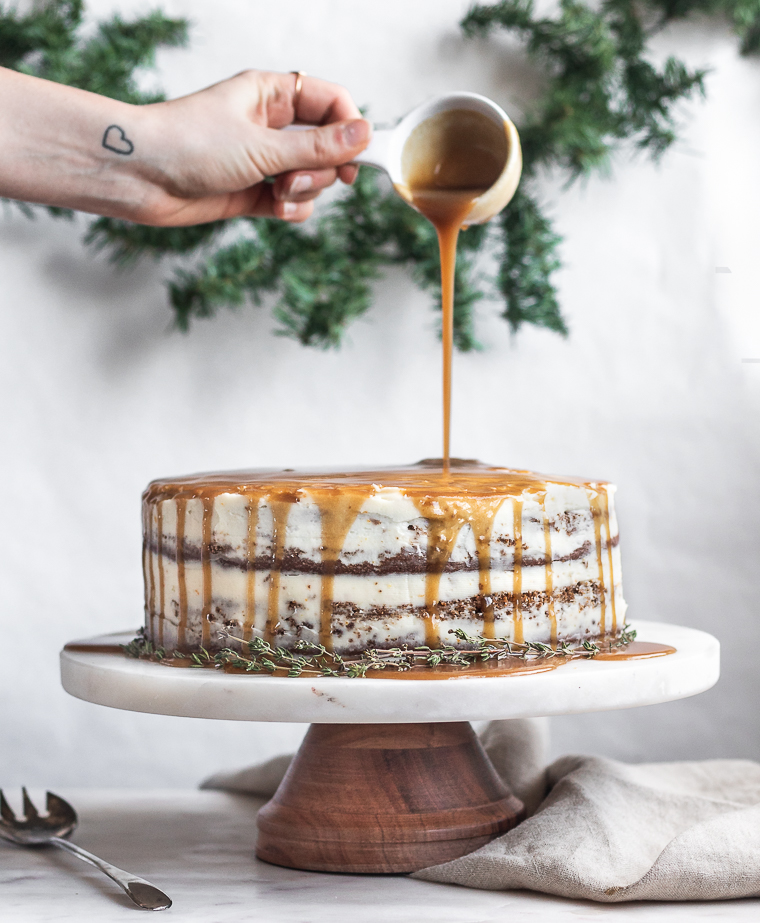 Gingerbread Caramel Drizzle Cake