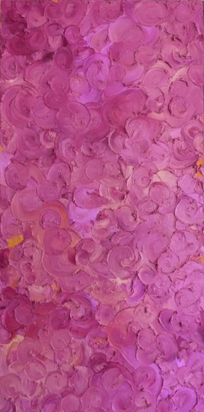 "Lilacs — oil pastels on birch panel — 12 x 24"" — $175"