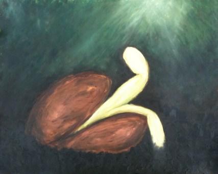 germination — oil pastels on paper, framed — $175