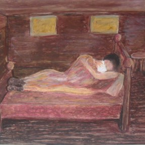 The Comforter — oil pastels on paper — $200