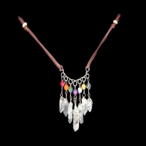 chakra crystal fringe necklace