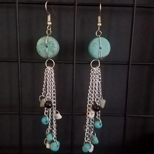 teal dangle chain earrings