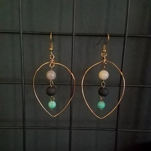 leaf labradorite earrings
