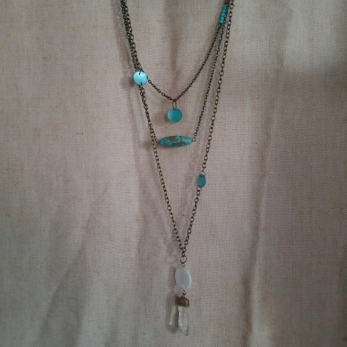 boho multi chain quartz necklace