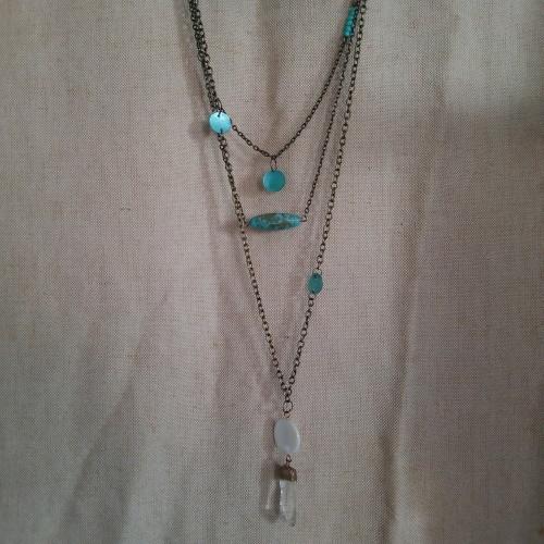 boho multi chain quartz necklace