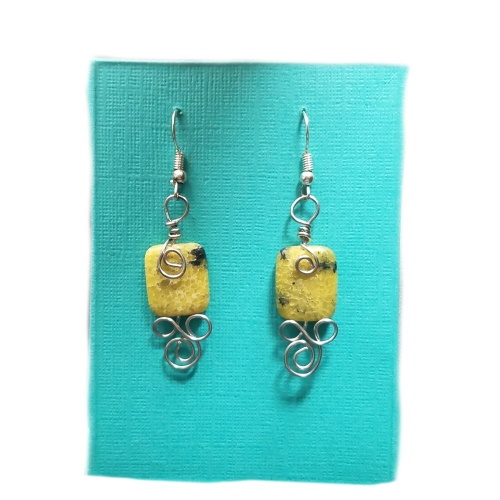 yellow turquoise wrapped earrings