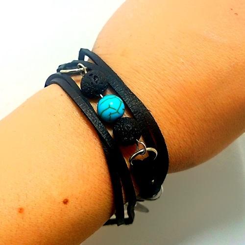 leather lava bead bracelet