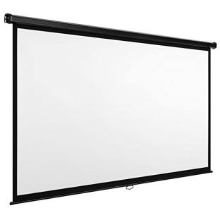 VonHaus 90-Inch Projector Screen for Wall or Ceiling Mounting | (W) 200 x (H) 112 Centimeters, 16:9 Aspect Ratio | Matt White