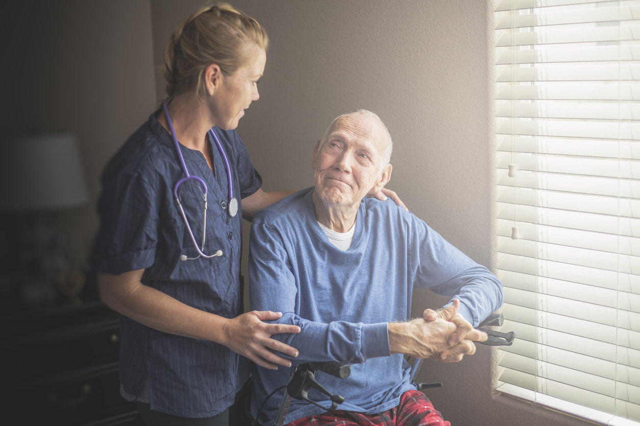 At home on Hospice with nurse care giver