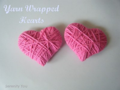 yarn wrapped hearts - valentines day