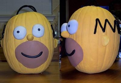 Homer Simpson Decorated Pumpkin Photo