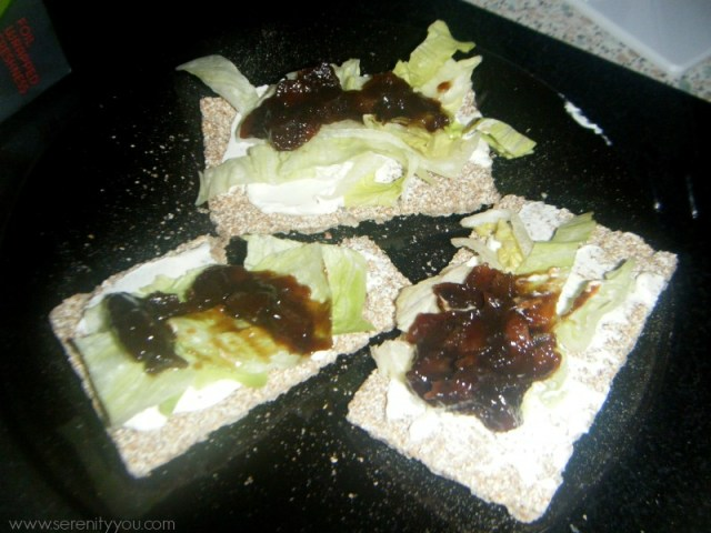 wheat thins with cheese spread, lettuce and branston pickle