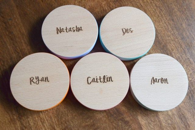 personalised family coasters from Dust and Things