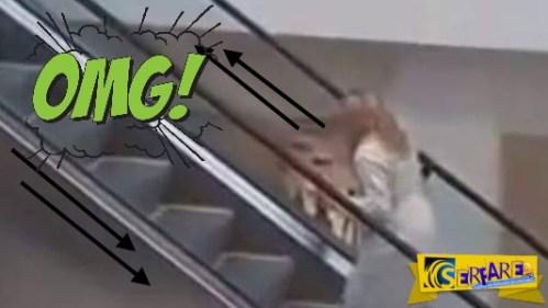 Δείτε πως ανεβαίνει μια ξανθιά τις κυλιόμενες σκάλες! Μετά λένε γιατί βγάζουν ανέκδοτα …