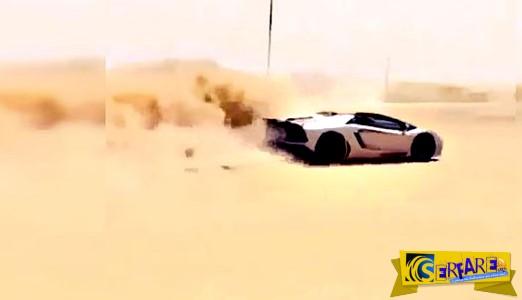 Εν τω μεταξύ, στο Dubai: Οδηγεί την Lamborghini του στην έρημο!
