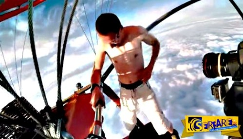 H τρέλα δεν πάει στα βουνά, αλλά σε αυτό τον άνδρα – Ημίγuμvος και χωρίς αλεξίπτωτο κάνει skydiving!