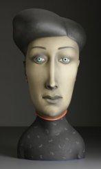 """""""Clear-Eyed,"""" 2008, stoneware, stain, glaze, 33.5 x 16 x 11""""."""