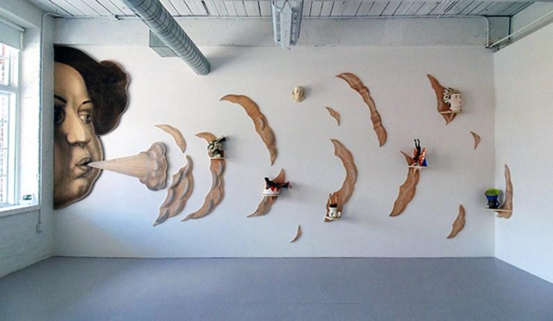 "Sergei Isupov, ""Exhale"" 2016, masonite, paint, 100 x 96""."