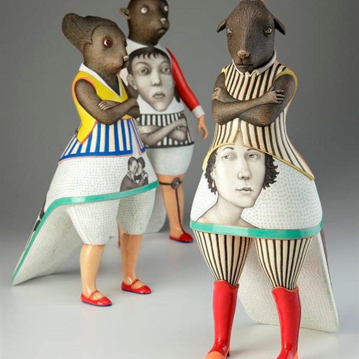 Humanimals Group, 2011, porcelain, slip, glaze.