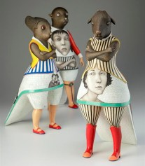 Humanimals Group, 2011, porcelain, slip, glaze.