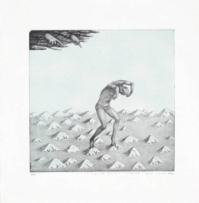 """Guilt Haunts,"" 2003, intaglio, siligraphy, image: 16 x 16"", paper: 23 x 22.5""."