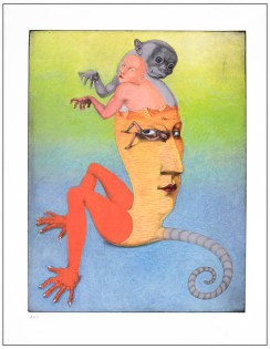 """""""Monkey,"""" 2000, vitreograph, sliligraphy print from glass plate, image: 24 x 18"""", paper 30 x 22""""."""